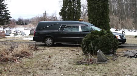 gravestone : 1117 Hearse Funeral Vehicle at Grave Yard.mov