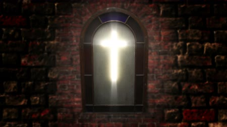 vatikan : 1140 Church Stain Glass Cross, HD.mov Stok Video