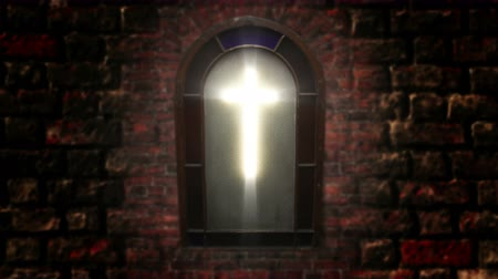 vatikan : 1141 Church Stain Glass Cross, 4K.mov Stok Video