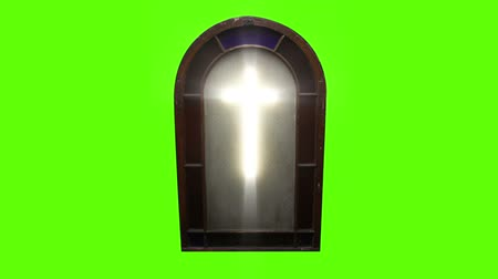 vatikan : 1142 Church Stain Glass Cross with Green Screen.mov