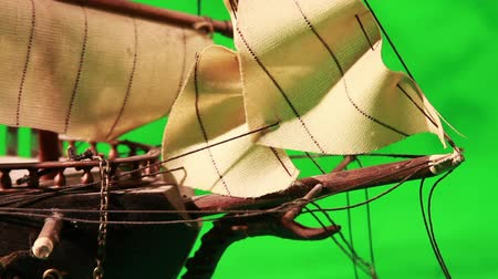 veleiro : Pirate Sailboat with Green Screen Stock Footage