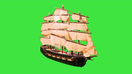 war : Pirate Sailboat with Green Screen Stock Footage