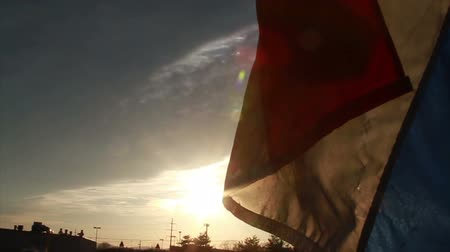 boletim informativo : 0830 Open Flag at Sunset, Slow Motion.mov Stock Footage