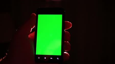 android : Smart Phone Green Screen, Finger Swip Stock Footage
