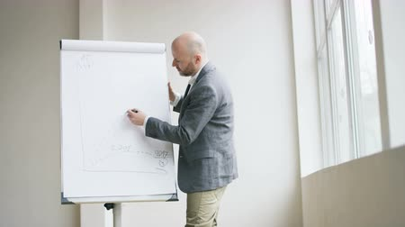 Bald Businessman Drawing a Punctuated Line on a Chart Stock Footage