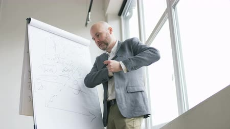 matemático : Bald Mathematician Putting a Tissue Into His Jacket Stock Footage