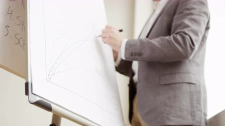 Businessman Drawing Symbols on a Board Stock Footage