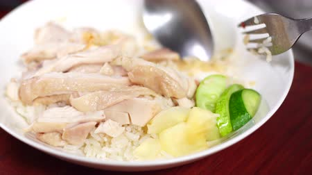 rosół : Close up of dish, Steam chicken rice, Sliced hainan-style chicken with marinated rice. Selective focus and free space for text.