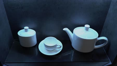porcelana : White porcelain coffee set in a cafe or in the kitchen Vídeos