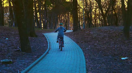 two wheeled : Little boy riding the bicycle in the park, sundown park, slow motion