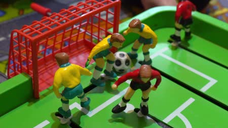 fotbalista : Table football, childrens board game, slow motion