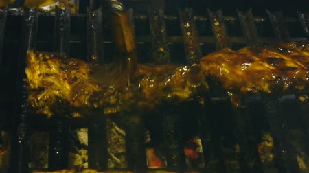 cordeiro : Appetizing ribs on the grill, cooking barbecue meat, juicy lamb ribs with grilled crust on the grill Stock Footage