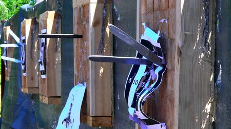 toughness : Throwing knives at the target from an open-air distance, a competition for throwing knives, flying knives, sharp knives fly in a target from the wood stands, slow motion
