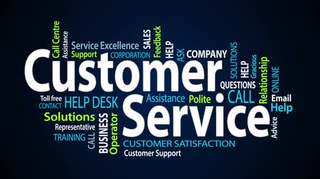 relação : Customer service word cloud text animation Stock Footage