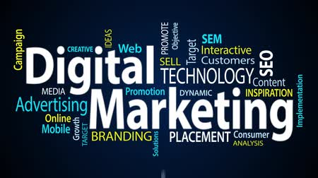 the media : Digital marketing word cloud text animation Stock Footage