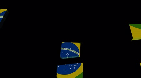 brasil : Brazil map flag converging animation