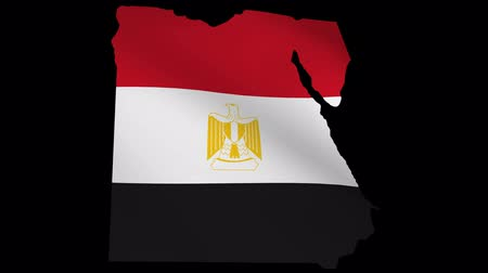 patriotismo : Egypt map with fluttering flag animation Vídeos
