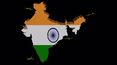 авиация : India map flag with planes departing animation Стоковые видеозаписи