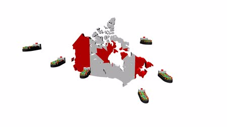 exportação : Canada map flag with container ships departing animation