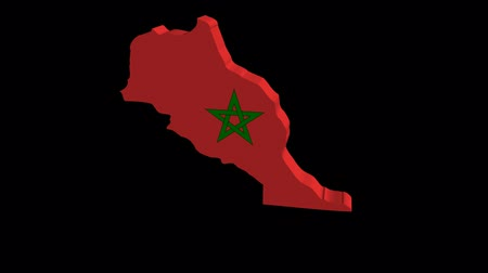 marrocos : Morocco map flag rotating on black animation