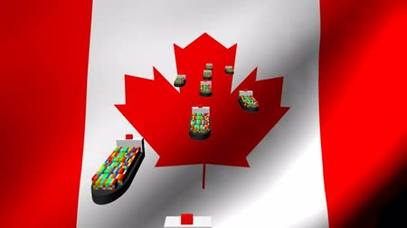 exportação : Container ships with fluttering Canadian flag animation