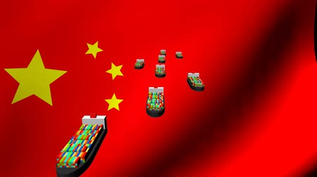 exportação : Container ships with fluttering Chinese flag animation