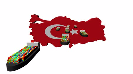 exportação : Turkey map flag with container ships departing animation