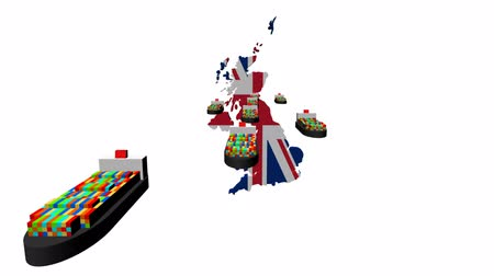 büyük britanya : UK map flag with container ships departing animation Stok Video