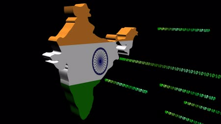 indie : India map flag with binary code animation Wideo