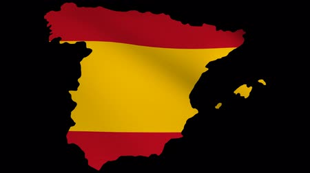spanyolország : Spain map with fluttering flag animation Stock mozgókép