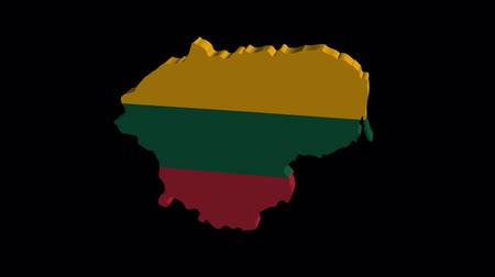 litvánia : Lithuania map flag rotating on black animation