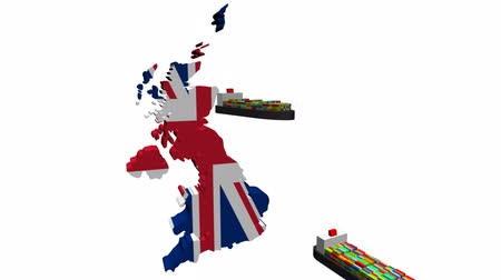exportação : UK map flag with container ships departing animation Vídeos