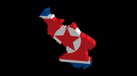 north korean flag : North Korea map flag rotating on black animation