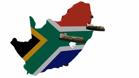 güney : South Africa map flag with container ships departing animation Stok Video
