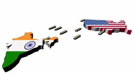 bandeira : India USA trade with container ships animation