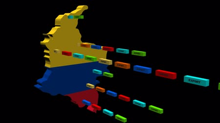 kolombiya : Colombia map with lines of export containers animation