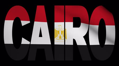 kahire : Cairo text with fluttering flag animation
