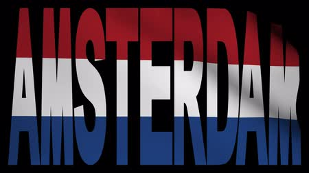 amsterodam : Amsterdam text with fluttering flag animation