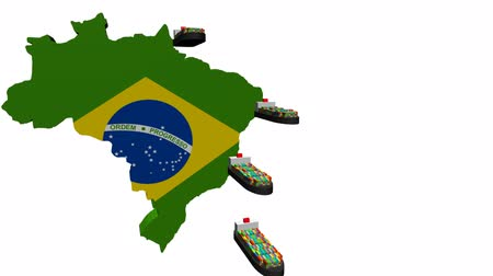exportação : Brazil map flag with container ships departing animation