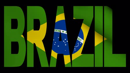 brasileiro : Brazil text with fluttering flag animation Stock Footage