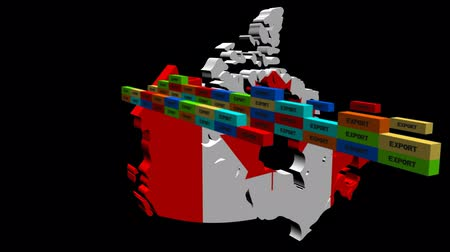 exportação : Canada map flag with stacks of containers animation