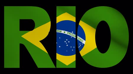 Рио : Rio text with fluttering flag animation