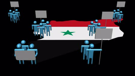 syrien : Steigende Publikum demonstrieren auf Syrien Karte Flagge Animation Videos