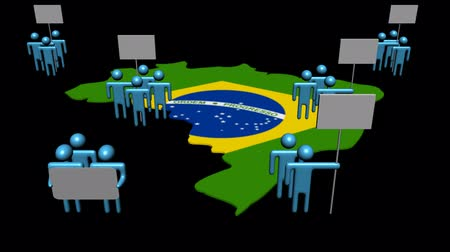 brazília : Increasing crowd demonstrating on Brazil map flag animation Stock mozgókép