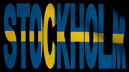 estocolmo : Stockholm text with fluttering flag animation