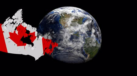 kanada : Canada map flag over rotating globe animation