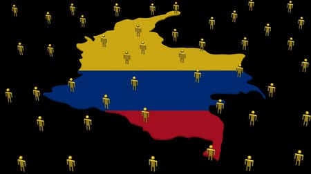 kolombiya : Colombia map flag with many abstract people animation
