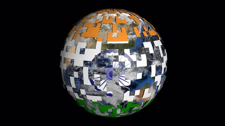 földgolyó : Rotating earth is covered by Indian flag sphere animation Stock mozgókép