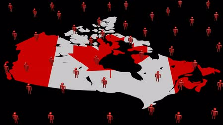 население : Canada map flag with many abstract people animation Стоковые видеозаписи
