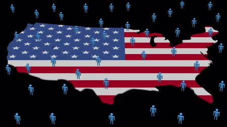 bezrobocie : USA map flag with many people animation